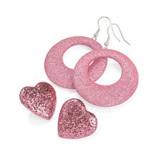 Heart Design Stud Earrings Fashion Jewellery Two Pairs of Pink Glitter Hoop and