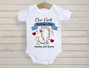 Personalised mothers day baby bodysuit vest babygrow our 1st mothers day gift