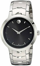 Movado Luno Black Dial Index Marker Integrated Links Men's Watch 0607041 New