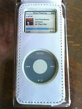 iPod Nano Case Leather Magnetic Flap Cover Belt Clip  2G Apple Look Handy White
