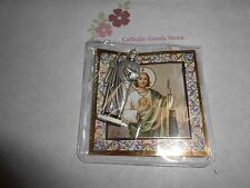 """Saint. Jude -  1 3/4"""" x 3/4""""  Silver Tone Metal Pocket Statue with case"""