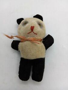 "Vintage 1930s Stuffed Panda Bear Glass Eyes 5.5"" Sawdust Filled Plush Toy b6"