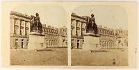 Versailles Cour Entrata Francia Foto Stereo PL56L1n Vintage Albumina c1860