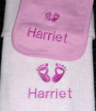 Personalised Baby Blanket & Bib Embroidered Heart Baby Feet Design Pink Gift Set