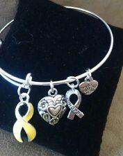 Expandable Bangle Charm Bracelet Bone Cancer Suicide Awareness Yellow Ribbon