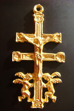 2 Angels Gold Color Cross Pendant Old Caravaca Crucifix Jesus Cross With