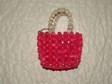 "Purse Key Ring Pink Bling Beaded Key Chain 3"" x 2"" x 1"""
