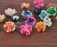 50pcs 15mm Mixed Color Polymer Clay Rose Flower Charms Loose Findings Beads