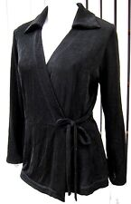 VIKKI VI LONG SLEEVE WRAP BLOUSE TOP SIZE S SMALL SOLID BLACK COLLARED