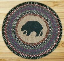 "Braided Rug-27"" Round 100% Jute Rug- Black Bear"