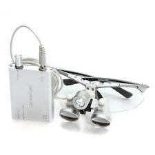 30000Lux 1W Dental Surgical Medical Binocular Loupes Silver 2.5X 320mm & LED ISO