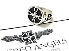 Silver  Spades Cross Ring With White Natural  Diamonds by Sacred Angels