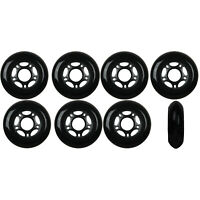 Inline Skate Wheels 76mm 82A Black Outdoor Roller Hockey Rollerblade 8 Pack