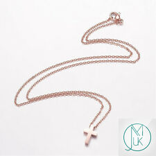 Modern Stainless Steel Rose Gold Tone Small Cross Necklace 18'' with Gift Pouch
