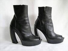 Ann Demeulemeester Black Leather Platform Peep Toe Ankle Boot Slant Heel 38