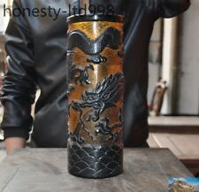 Marked old Chinese china Glass glaze carving Dragon fish Brush Pot pencil vase