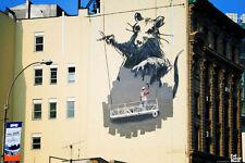 Banksy Gantry Rat Giant Scaffold Mural Urban Graffiti Stencil Poster - 18x12
