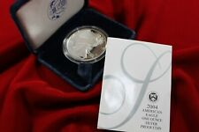 2004-W  AMERICAN EAGLE ONE OUNCE SILVER PROOF COIN, MINT BOX AND COA , SILVER