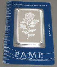 PAMP SUISSE 1 oz (once) .999 fine silver ROSA certifié numéroté bullion bar