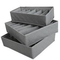 3 Pack Drawer Divider Closet Underwear Socks Tie Box Organizer Container Storage