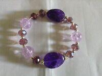 New Avon Metallic Mix Beaded Stretch Bracelet in light dark Purple shades