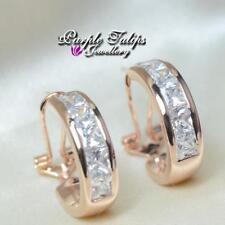18CT Rose Gold Plated Half Hoop Stud Earrings Made With Swarovski Crystal