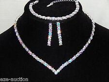 Bridal Silver W.AB Rhinestones Style Diamond 3PC Set Necklace, Earrings,Bracelet