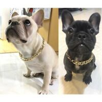 Pet Dog Gold Curb Cuban Link Chain Collars Necklace Puppy Plastic Choker US