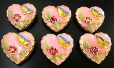 6 Czech UNIQUE Glass Buttons #B258 - HEART with Butterfly