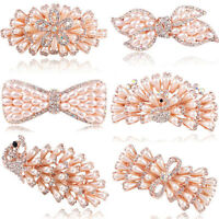 Chic Party Flower Crystal Rhinestone Pearl Barrette Hair Clips Pins Accessorises