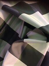 10 metri di qualità Green & Grigio Antracite Tartan Check in taffetà in finta seta tessuto