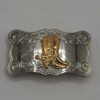 Belt Buckle Nickel Silver w/ Gold Tone Cowboy Boots and Spurs Vtg