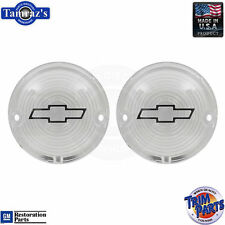 57 Chevy Parking Light Lamp Turn Signal Lenses Clear with Chrome Bowtie Outline