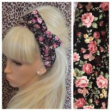 BLACK PINK ROSE FLORAL VINTAGE PRINT FABRIC BENDY HAIR WRAP WIRED SCARF HEADBAND