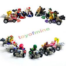 6PC Super Mario Kart Luigi PVC 4 Wheels Pull Back Racers Mini Car Toys figure US