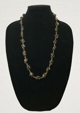 Vintage Necklace Black Onyx Gold Tone Wire Wrapped Hook Clasp Pretty Kitsch Gift
