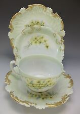 T&V Limoges 4pc Tea Cup Saucer Set Hand Painted Yellow Flowers Plate 1895