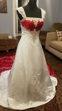 Alfred Angelo Beaded Satin A-Line Wedding Gown   Red & White Size 4