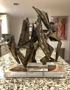 AWESOME VERY HEAVY ESTHER FUHRMAN ABSTRACT BRONZE SCULPTURE ON ACRYLIC BASE