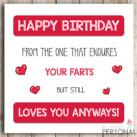 Funny Fart Happy Birthday Card for Husband Wife Boyfriend Girlfriend Cheeky Joke