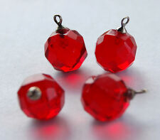 VINTAGE FACETED GLASS BALL BEAD ROUND PENDANTS 12mm SILVER TOPS RUBY RED