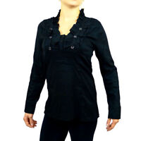 Steampunk Goth Cotton Victorian V Neck Long Sleeve Business Shirt 8 10 12 14 16