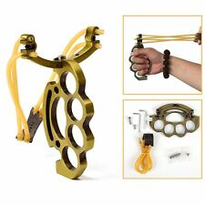 Brass Powerful Slingshot Wrist Sling Shot Brace Outdoor Games Hunting Catapult