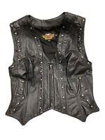 Harley Davidson Women's Leather Vest Size Large Motorcycle *See Description*