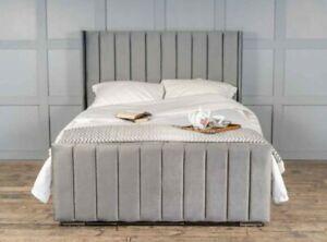 GREY PLUSH VELVET LINE WING BED OTTOMAN OPTION NEW SALE BEDROOM