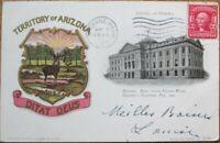 Phoenix, AZ 1907 Postcard: Capitol Building & Territory of Arizona Crest