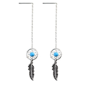 Sterling Silver Dream Catcher Wing Feather Bead Ball Threader Earrings