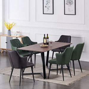 UK Wooden Dining Table and 6 Chairs Faux Leather Seat Kitchen Home Furniture Set