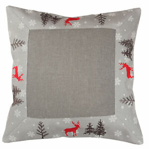Christmas Red Deer in Winter forest Fir Embroidery Table runner Tablecloth Grey