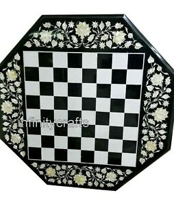 24 Inches Octagon Shape Coffee Table Top Black Chess Table Inlay with MOP Work